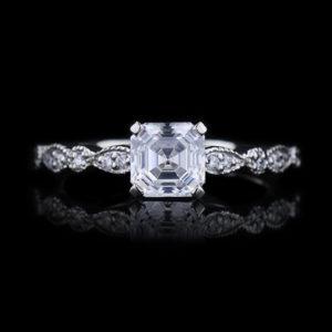   REF : SA1007   VINTAGE STYLED ASSCHER DIAMOND RING