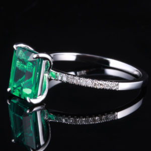   REF : GEM6002   EMERALD & DIAMOND RING