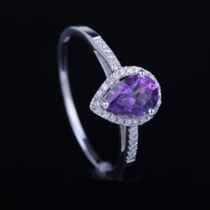   REF : GEM6005   AMETHYST & DIAMOND RING