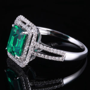   REF : GEM6006   EMERALD & DIAMOND RING