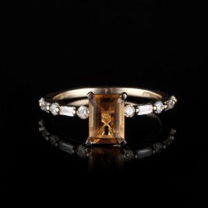   REF : GEM6007   CITRINE & DIAMOND RING
